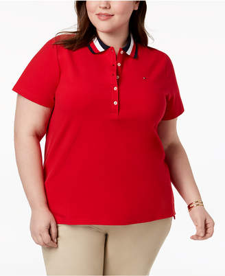 Tommy Hilfiger Plus Size Striped Collar Polo Shirt