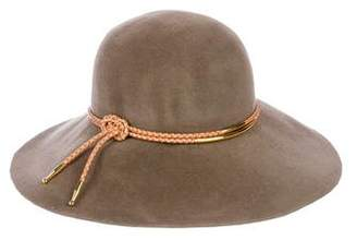 Eugenia Kim Leather-Trimmed Felt Hat