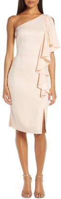 Vince Camuto One-Shoulder Ruffle Sheath Dress