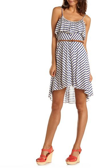 Charlotte Russe Belted Ruffle-Bust Hi-Low Dress