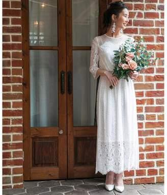 Chaco form forma 【結婚式・ウェディングドレス】troisieme レース×ドットチュール 袖付きロングウェディングドレス