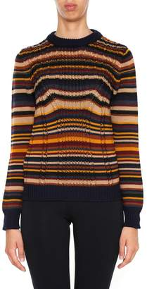 Prada Linea Rossa Multi Stripe Wool Pullover