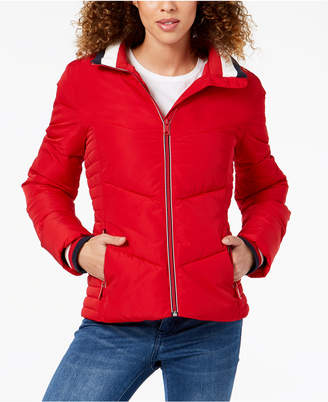 Tommy Hilfiger Chevron Quilted Puffer Coat