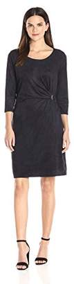 NY Collection Women's Solid 3/4 Sleeve Suede Dress with Trim at Side, L