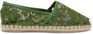 Valentino Leather-trimmed Corded Lace Espadrilles