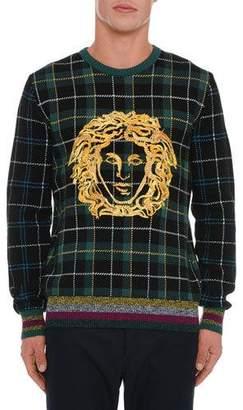 Versace Men's Medusa Head Plaid Sweater