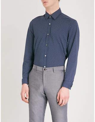 BOSS Polka-dot relaxed-fit cotton-piqué shirt