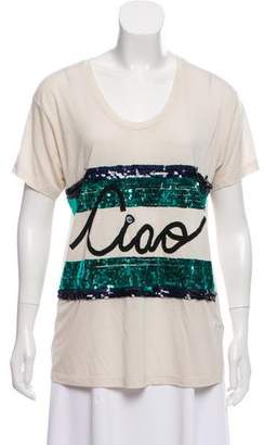 Lanvin Embellished Short Sleeve T-Shirt