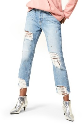 Women's 7 For All Mankind Josefina Studded Destroyed Jeans