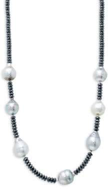 """Sterling Silver, 11mm Silver Tahitian Pearl & Hematite Beaded Necklace/18"""""""