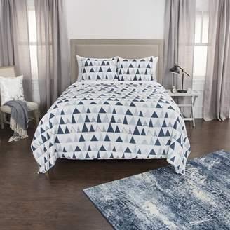 "Rizzy Home Cotton 106""x92"" indigo Geometric 3 Piece Quilt Set"
