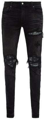 Amiri Mx1 Bandana Distressed Slim Leg Jeans - Mens - Black