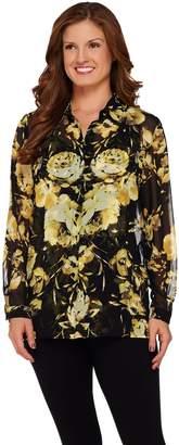 Susan Graver Printed Sheer Chiffon Big Shirt w/ Liquid Knit Tank