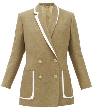 Fendi Double Breasted Bow Back Wool Blend Jacket - Womens - Brown Multi