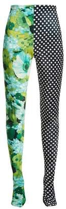 Richard Quinn - Floral And Polka Dot Print Leggings - Womens - Green Multi