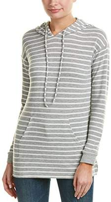 Michael Stars Women's Madison Brushed Stripe V-Neck Long Sleeve Hoodie