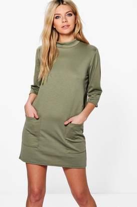 boohoo Oversized Pocket Front Box Shift Dress