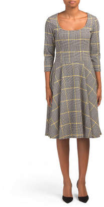 Stretch Crepe Plaid Dress