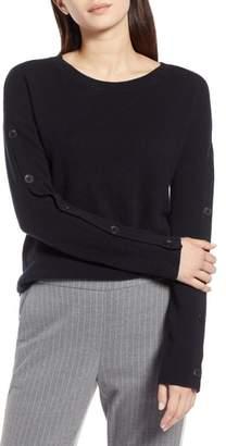 Halogen Cashmere Button Sleeve Sweater
