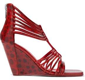 Rick Owens Mignon Printed Textured-Leather Wedge Sandals
