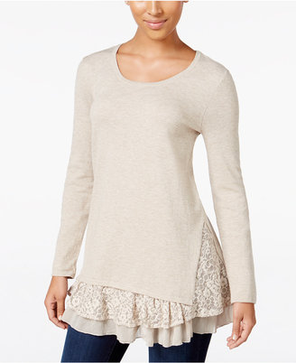 Style & Co Lace-Inset Layered-Look Sweater, Only at Macy's $54.50 thestylecure.com