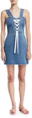 Paige Tule Lace-Up Sleeveless Denim Dress