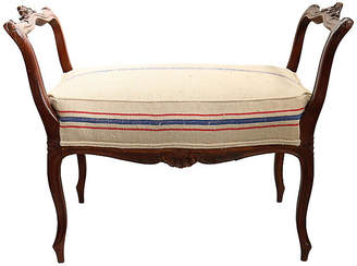 One Kings Lane Vintage Antique French Vanity Bench w/Grain Sack - Rose Victoria