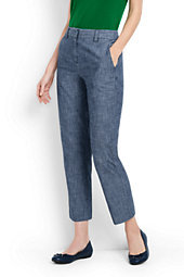 Lands' End Women's Tall Mid Rise Chino Crop Pants-Evening Sky Chambray $59 thestylecure.com