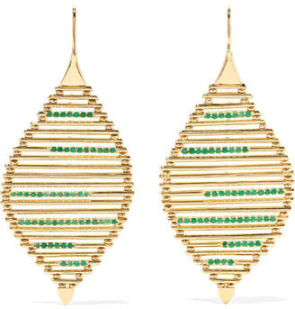 Ileana Makri Grass Seed 18-karat Gold Emerald Earrings