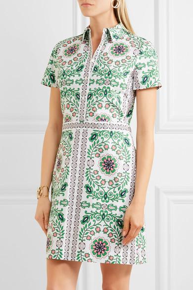Tory Burch - Port Printed Cotton-blend Mini Dress - Green 5