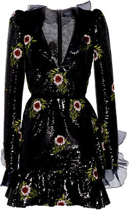Giambattista Valli Flounce Sequin Embellished Mini Dress With Floral Appliques