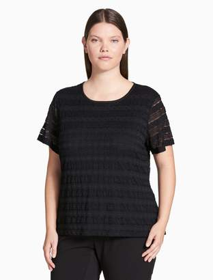 Calvin Klein plus size lace knit short sleeve top