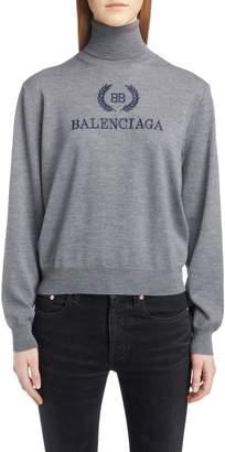 Balenciaga Embroidered Wreath Logo Wool & Cashmere Blend Sweater