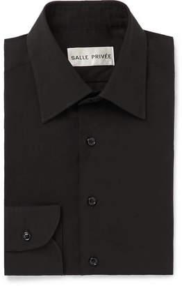 Privee SALLE Black Cotton And Silk-Blend Shirt
