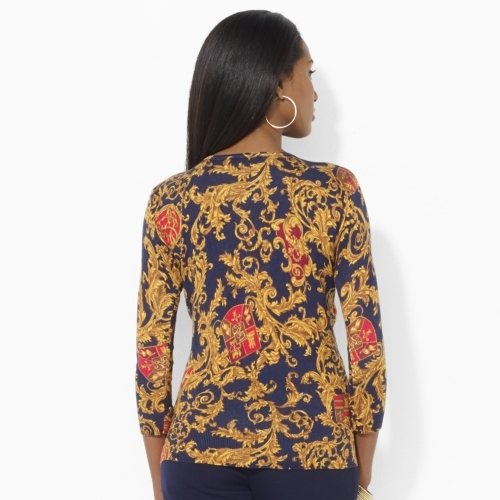 Ralph Lauren Printed Silk & Cotton Cardigan