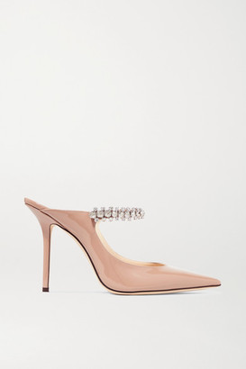Jimmy Choo Bing 100 Crystal-embellished Patent-leather Mules - Antique rose