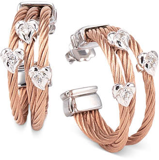 Charriol Women's Malia White Topaz-Accent Two-Tone PVD Stainless Steel Cable Hoop Earrings