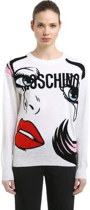Moschino Eyes Logo Intarsia Wool Knit Sweater