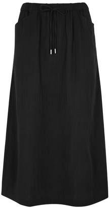 Eileen Fisher Black Organic Cotton Gauze Midi Skirt