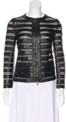 Armani Collezioni Zip-Up Lace & Leather Jacket