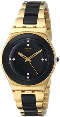 Swatch Women's YLG124G Yellow Pearl Analog Display Analog Quartz Gold Watch