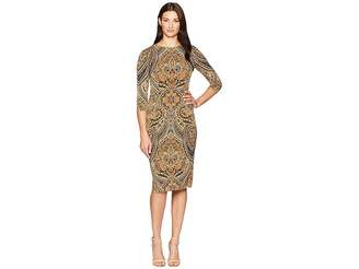 London Times Feather Scroll 3/4 Sleeve Fitted Dress