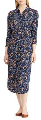 Lauren Ralph Lauren Floral Stretch Midi Shirtdress