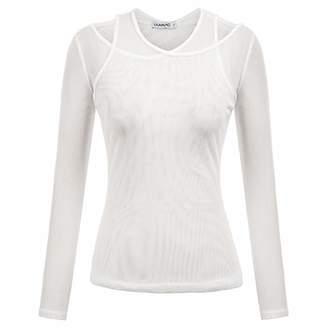 Womens See Through Sheer Mesh Long Sleeve T-Shirt Tops Clubwear Blouse 2XL