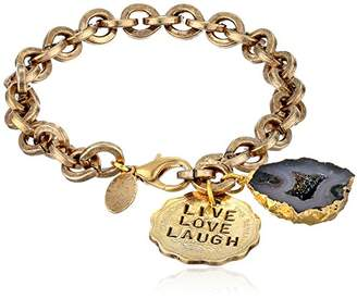 Alisa Michelle Hand Stamped Live Love Laugh Coin and Electroformed Geod Bracelet