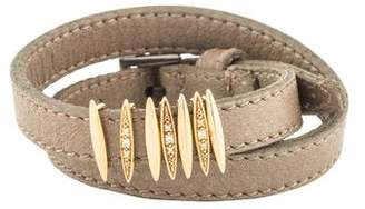 Mizuki Diamond Slider Leather Wrap Bracelet