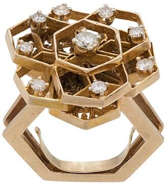 Katheleys Vintage 1970's 18kt gold and diamond geometric cutout ring