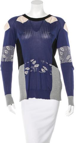 Maison Martin Margiela Tie-Accented Silk Sweater