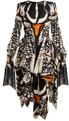 Alexander McQueen Exploded Beetle Print Draped Silk Dress - Womens - Ivory Multi