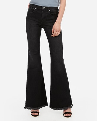 Express Mid Rise Original Black Bell Flare Jeans